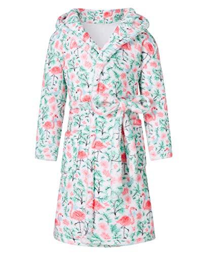 Funnycokid Mädchen Flamingo Bademantel Kinder Pyjama Nachthemd Flanell Langarm Druck Grafik Nachtwäsche 4-6 Jahre