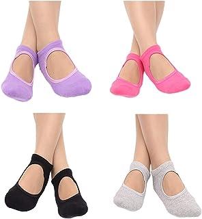 4 Pairs of Women Breathable Pilates Yoga Non Slip Grip Cotton Ballet Dance Sport Massage Ankle Socks (Black/Grey/Purple/Rosy)