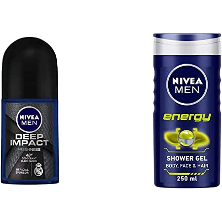 NIVEA Men Deodorant Roll On, Deep Impact Freshness, 50ml & NIVEA Men Body Wash, Energy with Mint Extracts, Shower Gel for Body, Face & Hair, 250 ml