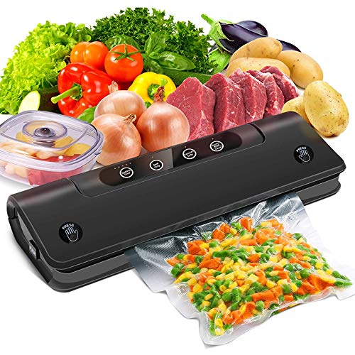 Vakuumiergerät 5 in 1,30 Beutel inklusive Vakuumierer Automatisch mit Cutter 60kPa Vakuumgrad 110W Snelle Afdichting Sous Vide für Lebensmittel,Fleisch,Gemüse,Obst