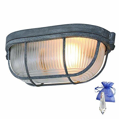 Wandleuchte in Grau Vintage Optik L. 21cm Vintage E27 auch als Deckenleuchte verwendbar/Retro Industrie-Lampe Bootsleuchte Schiffsleuchte Design-Kellerleuchte 230V + Giveaway