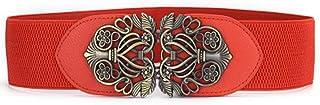 Vintage Carved Girdle Buckles Elastic Ladies Wide-Cut Waist Women's Elastic Girdle Waistband Women's Belt (Color : Red)