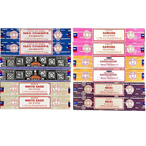 LAMARE Surtido de Incienso Satya - 12 Cajas de 15g (6 Fragancias x2)