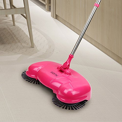 Pony Lazy 3 in 1 Household Cleaning Hand Push Automatic Sweeper Broom – Including Broom & Dustpan & Trash Bin – Cleaner Without Electricity Environmental (pink)