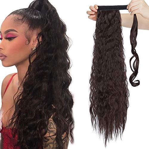 Ponytail Clip in Pferdeschwanz Zopf Extension Haarteil Haarverlängerung Hair Piece Corn Wavy gewellt wie Echthaar 26'(66cm) Dunkelbraun