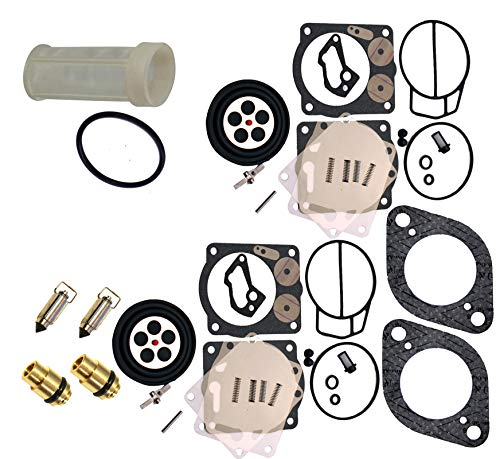 Compatible With Sea-Doo Premium Venom Brand Twin Carb Rebuild Kit w/Needle, Seats & Gaskets (Fits 1998-2002 GSX GTX LRV RX RXX XP/LTD 947-951 NOW Includes Free Water Separator Fuel Filter & O-Ring