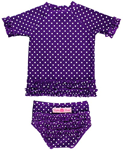 RuffleButts Baby/Toddler Girls Rash Guard 2-Piece Swimsuit Set - Purple Polka Dot Bikini with UPF 50+ Sun Protection - 12-18m