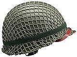 PoJu Replica WW2 US M1 Casco Steel Field Green con Cubierta de Red Reproducción de cinturón de Ojo