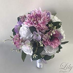 Silk Flower Arrangements Wedding Bouquet, Bridal Bouquet, Bridesmaid Bouquet, Silk Flower Bouquet, Wedding Flower, Lilac, Lavender, Iris, Pink, Mauve, Lily of Angeles