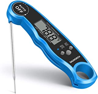 SAUNORCH Digital Meat Thermometer, Waterproof Instant Read Digital Food Thermometer Liquid BBQ Grill kitchen Baking Cooking Thermometer with Calibration and Backlit-Blue