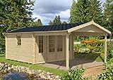 Alpholz Gartenhaus Spessart aus Massiv-Holz | Gerätehaus mit 44 mm Wandstärke | Garten Holzhaus inklusive Montagematerial | Geräteschuppen Größe: 380 x 660 cm | Satteldach