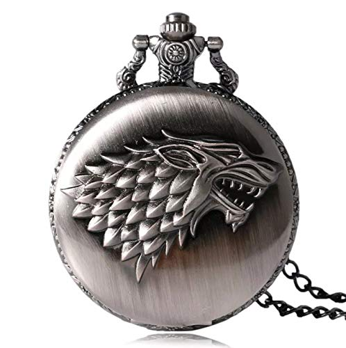 Féeries et Wonderes Taschenuhr Wolf Game of Thrones, Game of Thrones Haus Stark (HT 6 x 4,5 cm), Wolfs-Figur, Halskette