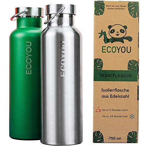 EcoYou Trinkflasche Edelstahl 750 ml Silber doppelwandig für Heiß- und Kaltgetränke - Wasserflasche Isolierflasche Thermoflasche - Sport und Outdoor Flasche