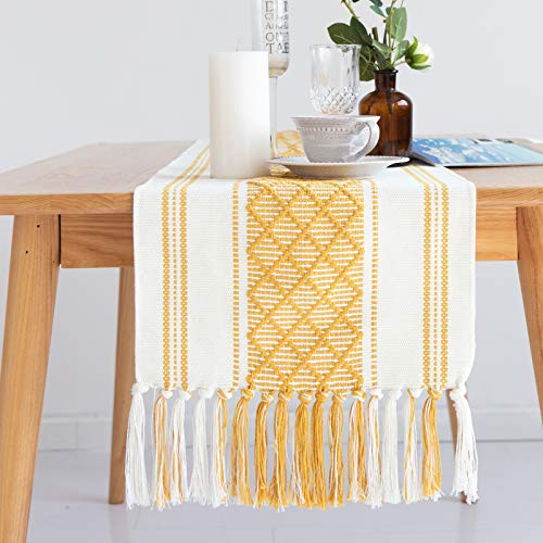 ALIBALA Cotton Woven Boho Table Runner with Tassel 14in x 85in, Yellow & Cream Geometric Diamond Washable Table Runner, Farmhouse Fringe Handmade Minimalist Table Decorations for Dining Party Holiday