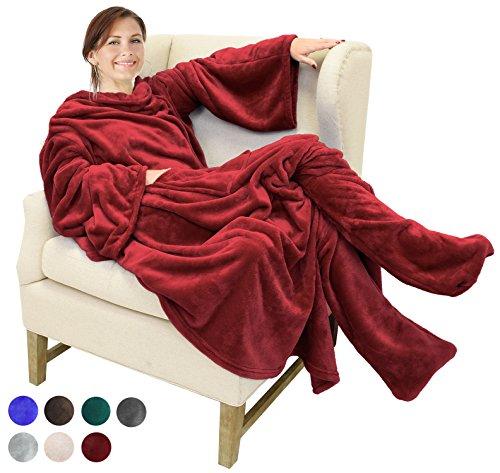 Catalonia TV-Decke Kuscheldecke mit Ärmel- und Fußtaschen Vlies-Decke große Wickeldecke zum Überwerfen, für Damen und Herren, 190x 135cm, Wein
