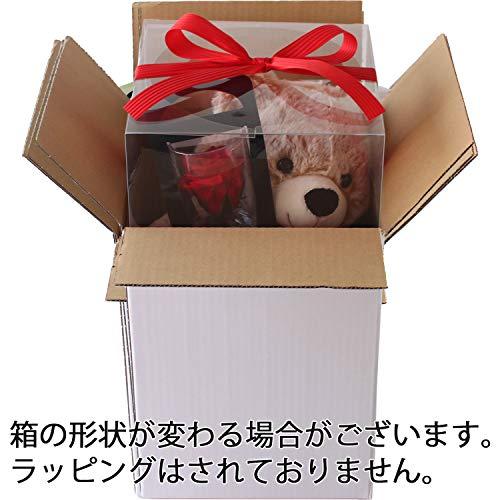 プリザーブドフラワー(クリアケースL付き/クマさんと一輪の薔薇/レッド)プレゼントお祝い[記念日誕生日]アレンジリボン付き