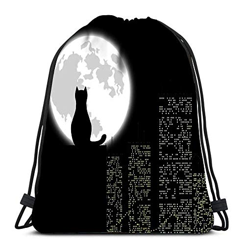 JDHFJ Bolsa con cordón Drawstring Backpack Sport Bags Cinch Tote Bags Big City ANG Cat for Traveling and Storage