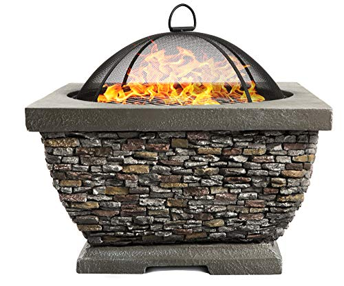 Centurion Supports Fireology TONTERIA Prestigious Garden & Patio Heater Fire Pit Brazier and Barbecue with Eco-Stone Finish