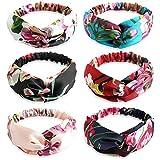 Envoltura para la Cabeza Impresa Elásticas - Diademas para Mujer Bohemias con Nudos Florales Estampados Bandas de Pelo Elásticas 6 Piezas