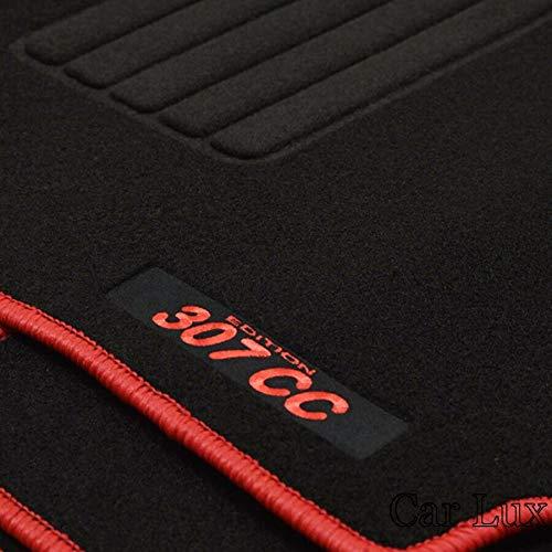 Car Lux AR12617 – Peugeot 307 CC Tapis de voiture en velours avec bordure rouge pour 307 cc 307 CC à partir de 2001