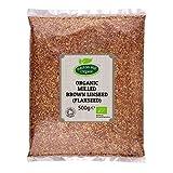 Semilla de lino marrón molida orgánica (semilla de lino molida) 500 g de Hatton Hill Organic