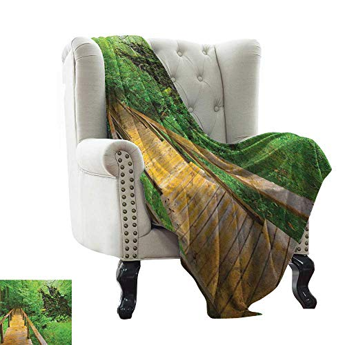 LsWOW Baby Blanket Forest,Wood Trail in Fresh Forest Jungle After The Rain Tropical Environment Eco Adventure, Brown Green Warm Blanket for Autumn Winter 35'x60'
