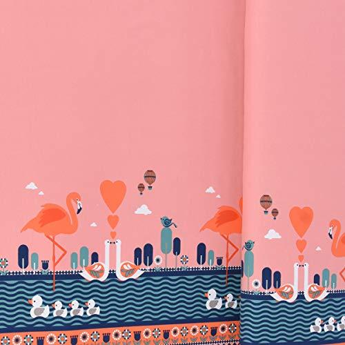 SCHÖNER LEBEN. Jersey Stenzo Bordüre beidseitig Flamingo Enten Blumen rosa blau weiß 1,50m Breite
