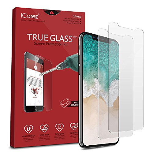 iCarez [Tempered Glass] Screen Protector for iPhone 11 Pro iPhone X iPhone Xs 5.8-inch Easy to Install [ 2-Pack 0.33MM 9H 2.5D]