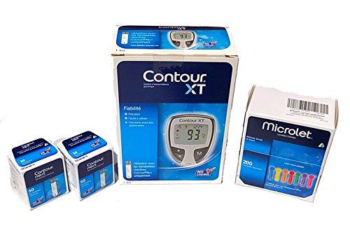 Contour xt - Kit misuratore di glicemia + Contour Next Strisce Reattive per Glicemia  2 x 50 Pezzi + Lancette Microlet 200 unità