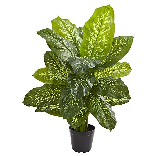 """Nearly Natural 34"""" Dieffenbachia Artificial (Real Touch) Silk Plants Green"""