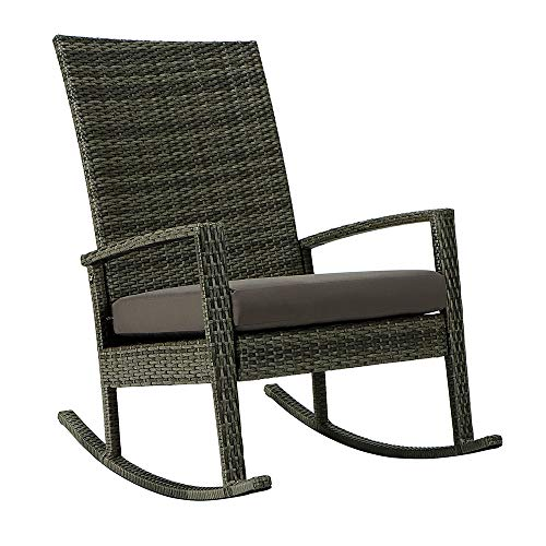 Garden Rocking Chair, Patio Furniture Rattan Chair, Outdoor Wicker Rocking, Modern Cushioned Seating and Back, Space Saving Design