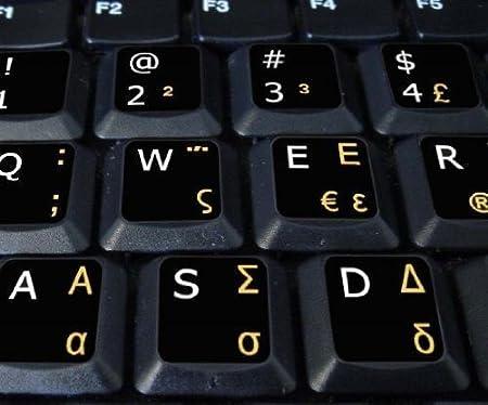 Qwerty Keys Griego - Inglés Negro Pegatinas con Letras Blancas y Amarillas adecuados para Cualquier Teclado