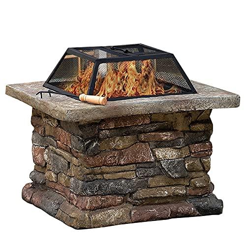 Brasero Exterior Garden Wood Burning Fire Pit, Terraza al Aire Libre Brasero, Parrilla de la Barbacoa, Pozo de Hielo, Calefacción 3 en 1 Chimenea (Color : Style1)
