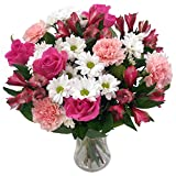 Clare Florist Precious Pink and White Fresh Flower Bouquet - Beautiful Roses, Carnations, Alstroemeria and Chrysanthemums Hand Arranged by Florists