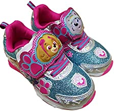 Paw Patrol Girls Light Up Sneaker Shoes with Skye and Everest (7) Pink Blue