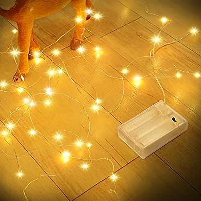 【Cadena de luces de 12 m / 39 pies】 Nuestra luz decorativa de hadas es flexible pero resistente. Los cables plateados y 120 micro LED brillantes se distribuyen aproximadamente cada 10 cm. Iluminación blanca cálida adecuada para tu Navidad, reuniones,...