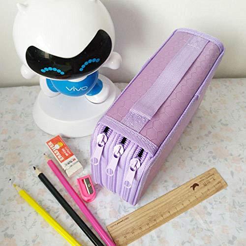 nohbi Caja de Almacenamiento de Escritorio Escolar,Bolso de 52 bocetos a Color, Estuche poroso, Morado,para lápices, Maquillaje, papelería