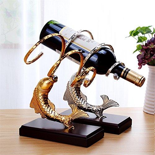 LL-COEUR Porte-Bouteille Décoration Casier à Vin Original Support pour Bouteille Sculpture Carpe Alliage Idée Cadeau 19 x 9 x 25 cm (Or et Argent)