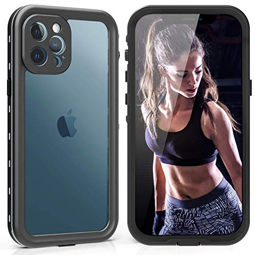 """Waterproof Case for iPhone 12 Pro Max, 12 Max Waterproof Case with Built-in Screen Protector, Full Body Dustproof Shockproof Case for iPhone 12 Pro Max 6.7"""" 2020 (Clear+Black)"""