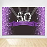 Felizotos 50th Birthday Backdrop Purple Black Background 50th Birthday Party Decorations Backdrop Fifty Years Old Anniversary Photography Banner 6x4ft