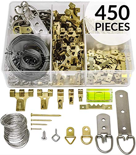 Picture Hanging Kit 450+ Pieces | Hardware for Frames Heavy Duty | Great Assortment Includes:Screws, Nails, D Rings, Hooks, Wires, Sawtooth Hangers, Heavy Duty Hooks | Comes with Transparent Solid Box