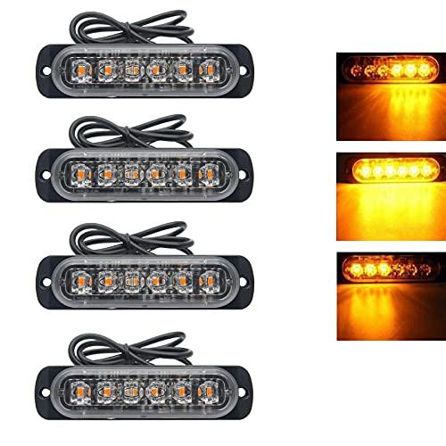 RIGIDON 4 Pcs 6 Led naranja luz estroboscópica emergencia, 12V 24V Advertencia de emergencia Luz de advertencia de peligro Luz...