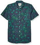 Goodthreads Slim-fit Short-Sleeve Printed Poplin Shirt Camisa abotonada, Black Line Floral, L