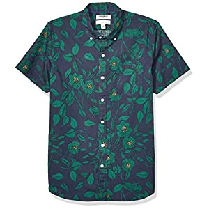 Men's Slim-Fit Short-Sleeve Printed Poplin Shirt