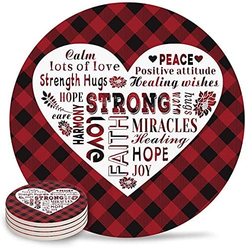 Posavasos Strong Love Positive Inspirational Quotes Heart Absorbent Stone Ceramic Coaster con Respaldo de Corcho y sin Soporte para Tazas, Juego de 6 Piezas Rojo y Negro Plaid-6