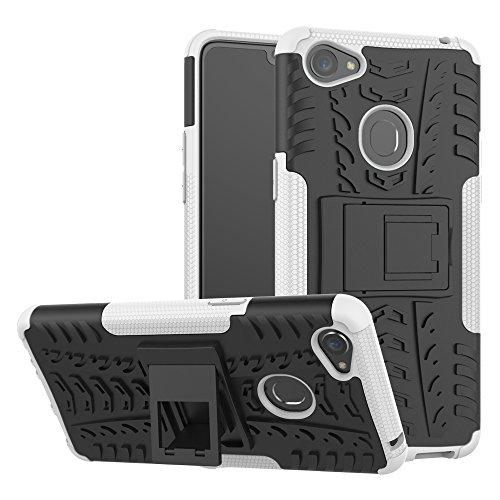 TiHen Handyhülle für Oppo F7 Hülle, 360 Grad Ganzkörper Schutzhülle + Panzerglas Schutzfolie 2 Stück Stoßfest zhülle Handys Tasche Bumper Hülle Cover Skin mit Ständer -Weiß
