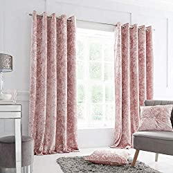 Catherine Lansfield is renowned for style and quality - designed and developed in Great Britain Luxuriously soft touch crushed velvet curtains in a glamourous blush pink Curtain Panel Size - 168x137cm (66x54 inch) Made from soft to touch 100% Polyest...