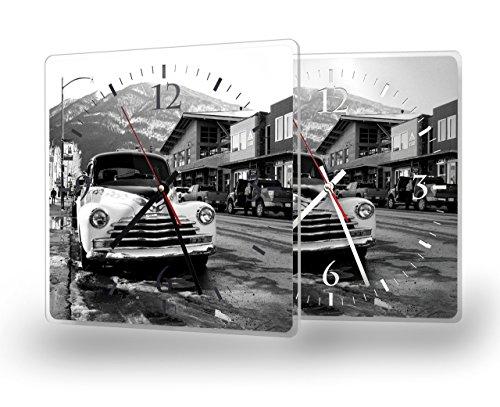 Printalio - Oldtimer Vintage - Moderne Wanduhr mit Fotodruck auf Polycarbonat | Fotouhr Bilderuhr Motivuhr Küchenuhr modern hochwertig Quarz | 30 cm x 30 cm mit schwarzen Zeigern