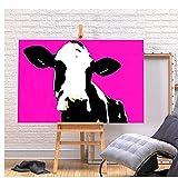 Cuadros Decoracion Pop Art Cow-Canvas Kitchen Wall Art Cuadros Print- Animal Hot Pink Decoracion One Piece Canvas Posters and Prints40x60cm x1 Sin Marco