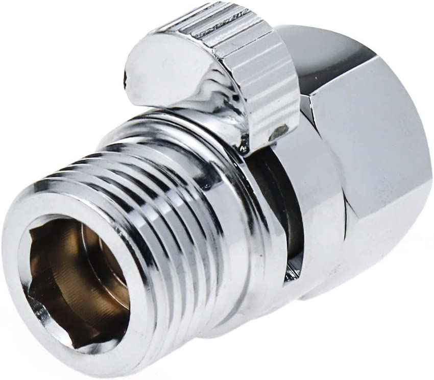Pack of 1 HONJIE Shower Volume Control Valve Metal Copper Brass Shut-Off 1//2 Standard Connection Chrome Polished